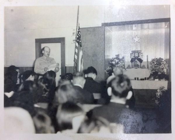 """Henry """"Hank"""" Adams at a memorial service, circa 1943-1945"""