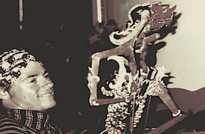 Roger Long with an Indonesian puppet.