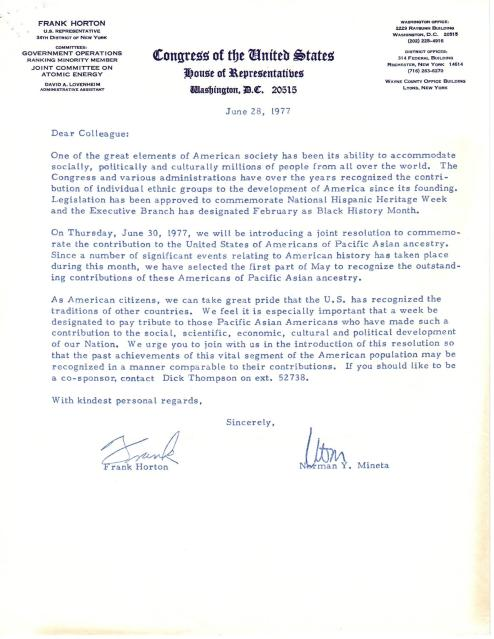 Letter from Rep. Frank Horton inviting Senators Daniel Inouye and Spark Matsunaga to propose a Senate resolution designating the first Asian Pacific American Heritage Week, June 28, 1977. Senator Daniel K. Inouye Papers.