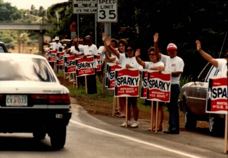 Spark Matsunaga sign wavers, 1988