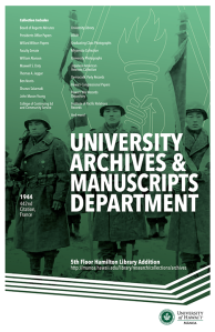 University Archives & Manuscript Collections Department poster featuring an image of the 442nd Regimental Combat Team, 1944