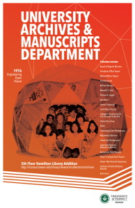 University Archives & Manuscript Collections Department poster featuring an image of people posing inside a geodesic dome at the 1976 Engingeering Open House
