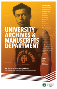 University Archives & Manuscript Collections Department poster featuring an image of future HI State Chief Justice William Richardson during his student days, 1940