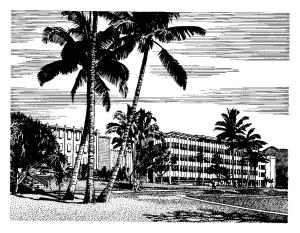 Line drawing of the Health Research Institute Building from 1961.